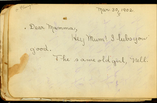 Nellie's 1902 entry in Maggie's book