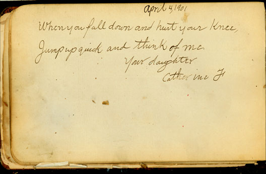 Catherine's 1901 entry in Maggie's book
