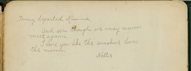 Nellie's note to her mother, after Maggie's death.
