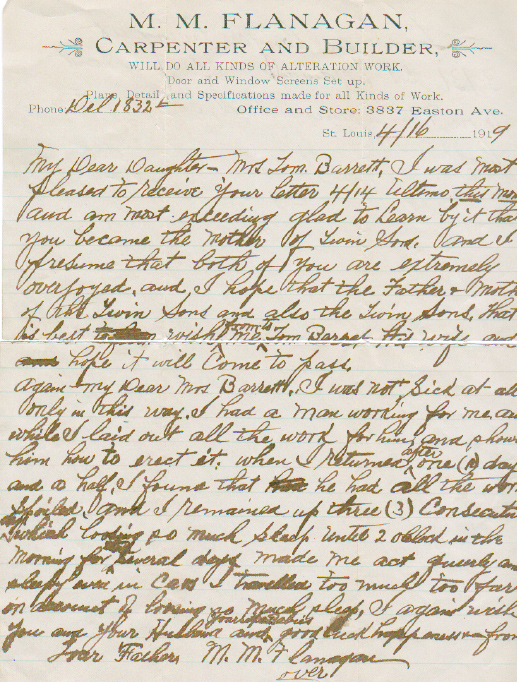 Letter from Moses Flanagan 1919