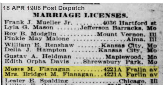 Moses Flanagan marriage license with Bridget Meehan Flanagan