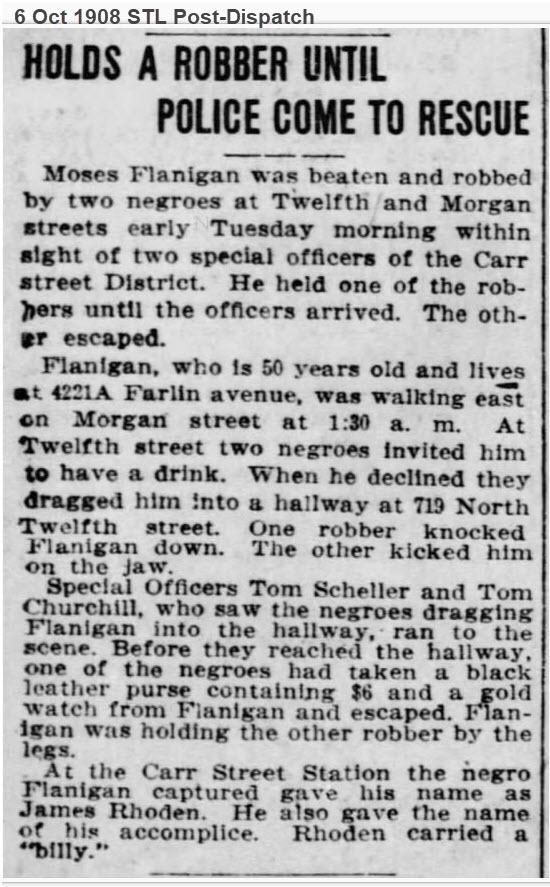 Moses Flanagan robbery 1908