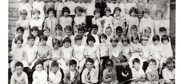 First grade at St. Edward's parochial school, St. Louis. About 1928.