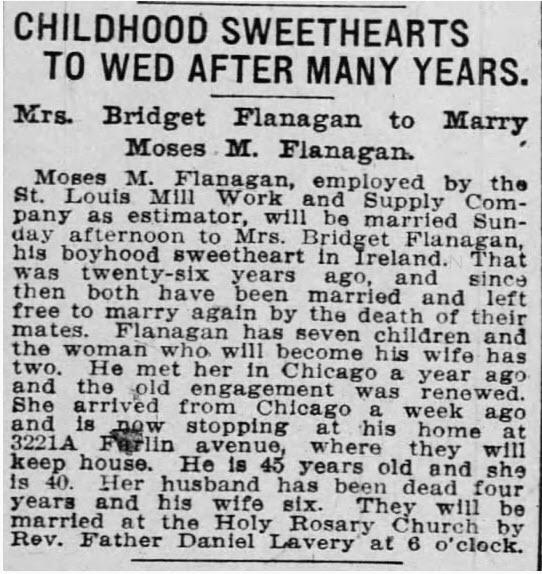 Moses Flanagan wedding. St. Louis Globe-Democrat, St. Louis, Missouri, 18 Apr 1908, Sat • Page 9