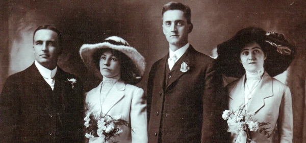 Flanagan-Barrett Marriage 1912. L-R: unknown friend, Kitty Flanagan, Tom Barrett, Mamie Barrett