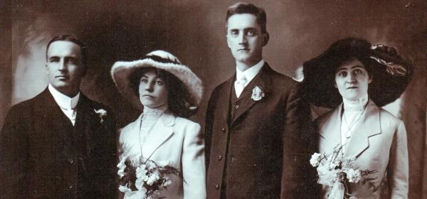 Flanagan-Barrett Marriage 1912. L-R: unknown friend, Kitty Flanagan, Tom Barrett, Mamie Barrett
